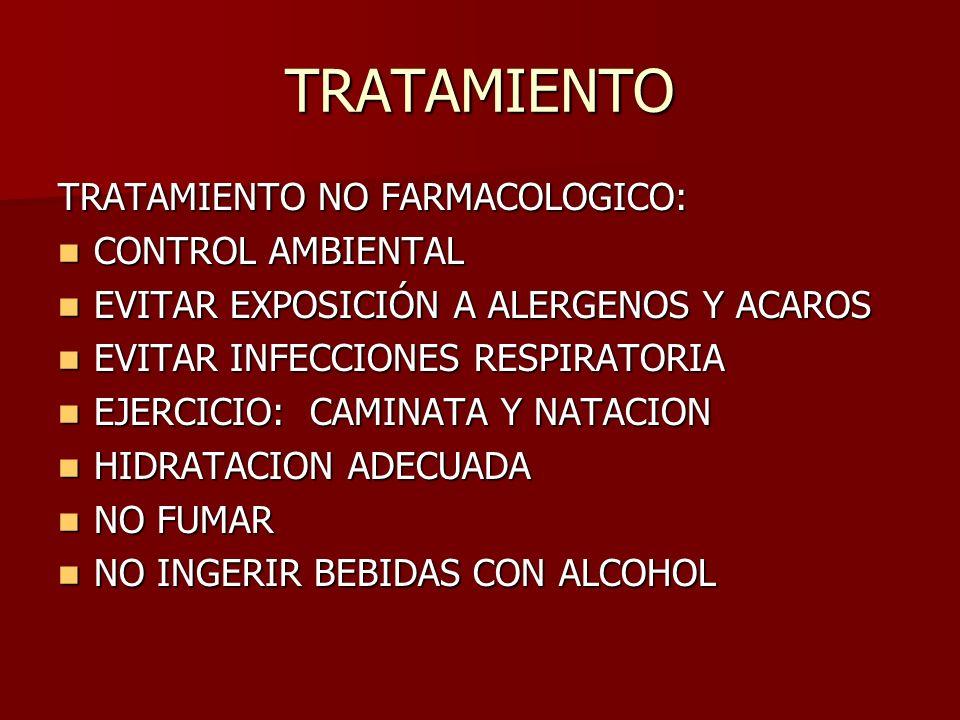 TRATAMIENTO TRATAMIENTO NO FARMACOLOGICO: CONTROL AMBIENTAL
