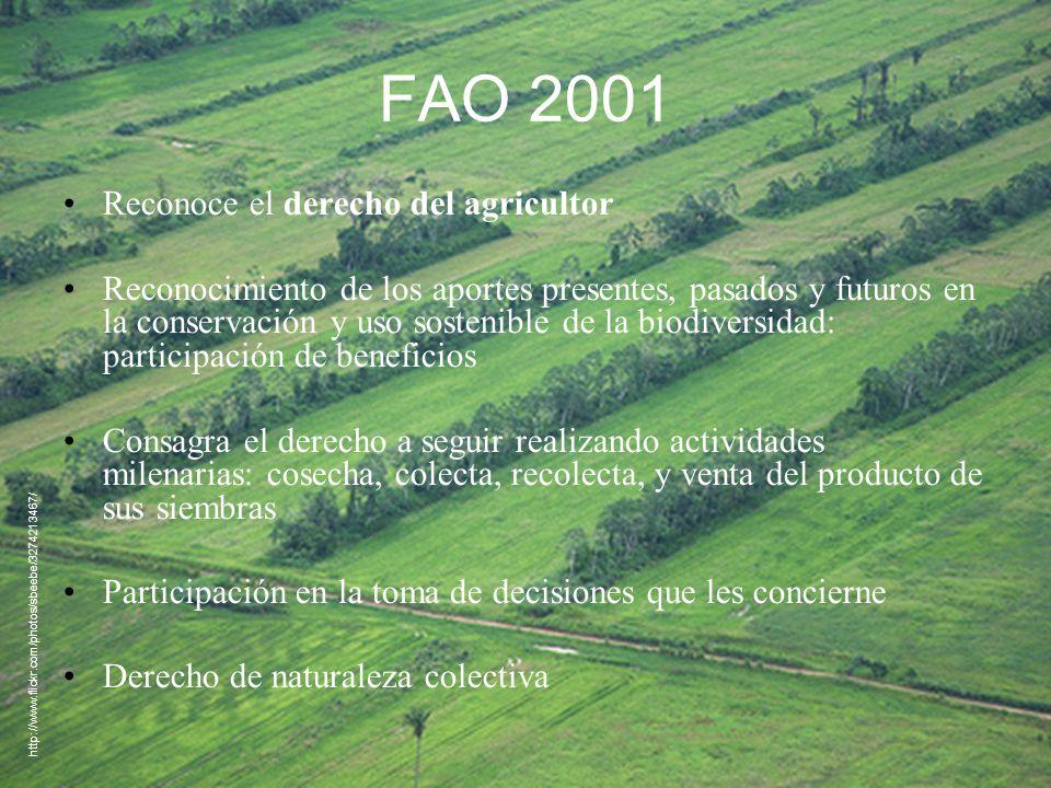 FAO 2001 Reconoce el derecho del agricultor