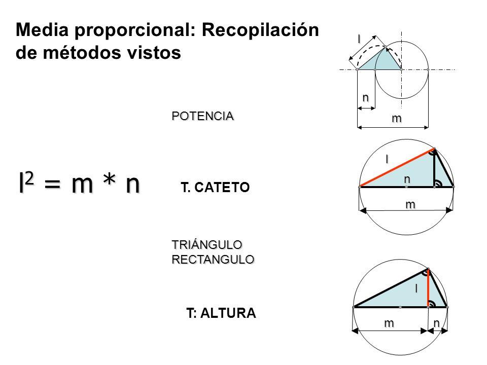 l2 = m * n Media proporcional: Recopilación de métodos vistos