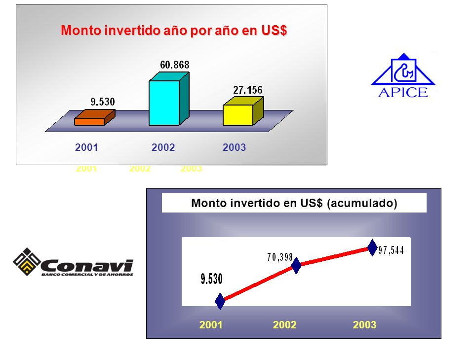 Monto invertido año por año en US$ Monto invertido en US$ (acumulado)