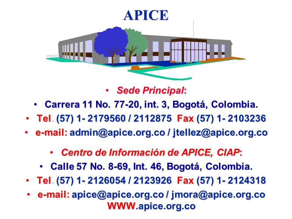 APICE Sede Principal: Carrera 11 No. 77-20, int. 3, Bogotá, Colombia.
