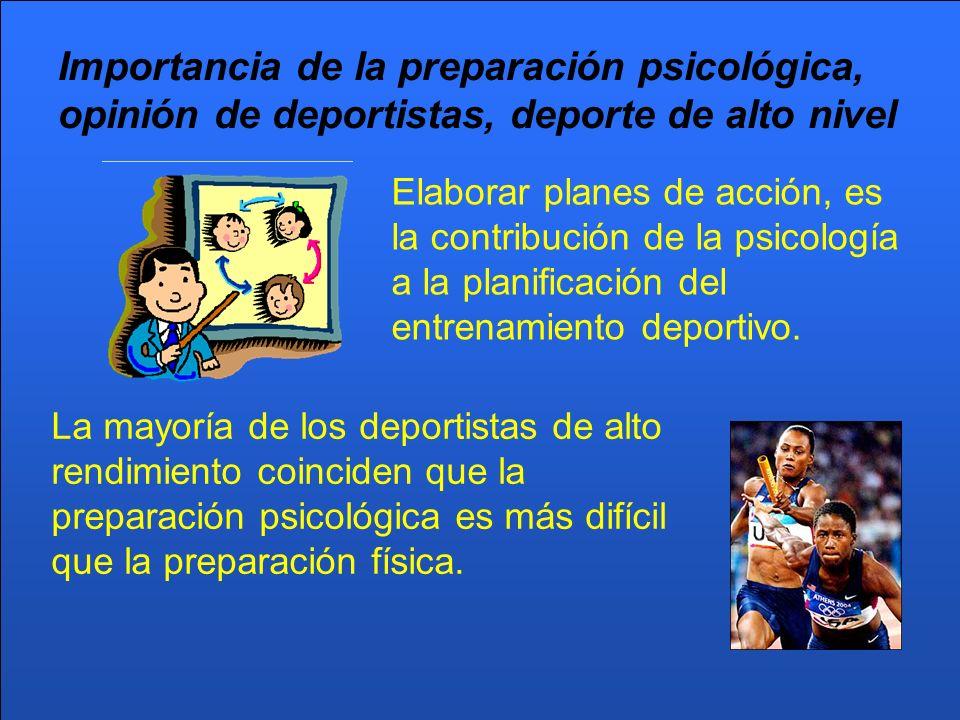 Importancia de la preparación psicológica, opinión de deportistas, deporte de alto nivel