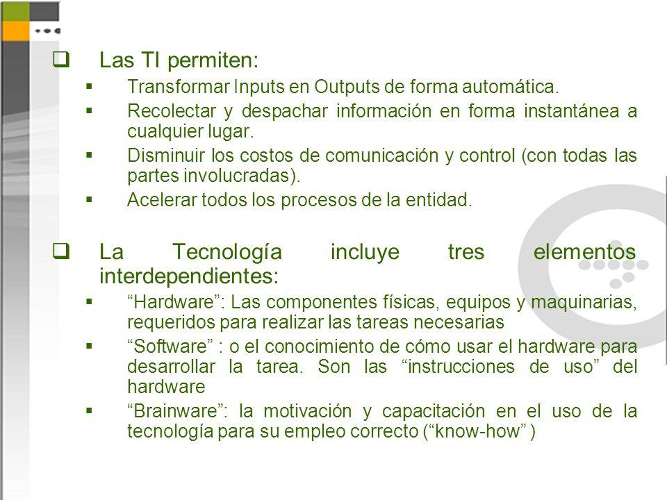 La Tecnología incluye tres elementos interdependientes: