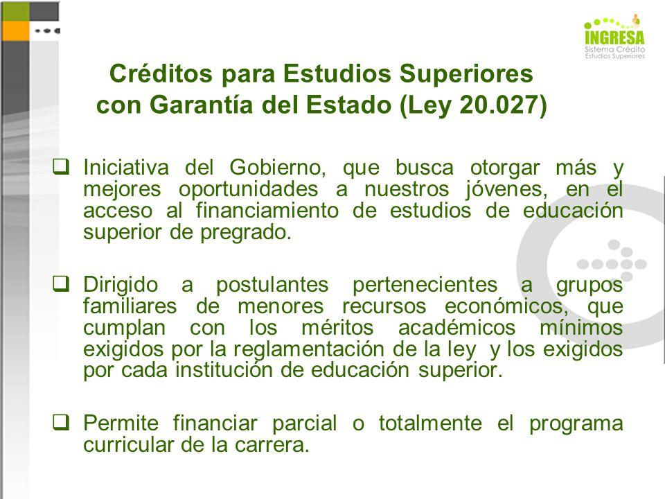 Créditos para Estudios Superiores con Garantía del Estado (Ley 20.027)
