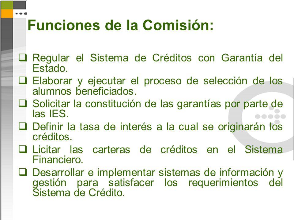 Funciones de la Comisión: