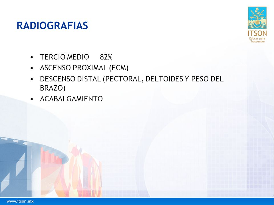 RADIOGRAFIAS TERCIO MEDIO 82% ASCENSO PROXIMAL (ECM)