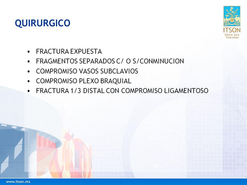 QUIRURGICO FRACTURA EXPUESTA FRAGMENTOS SEPARADOS C/ O S/CONMINUCION