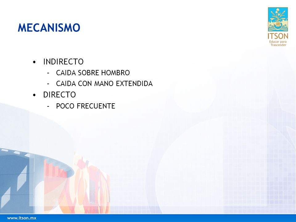 MECANISMO INDIRECTO DIRECTO CAIDA SOBRE HOMBRO