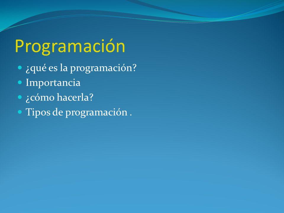 Programación ¿qué es la programación Importancia ¿cómo hacerla