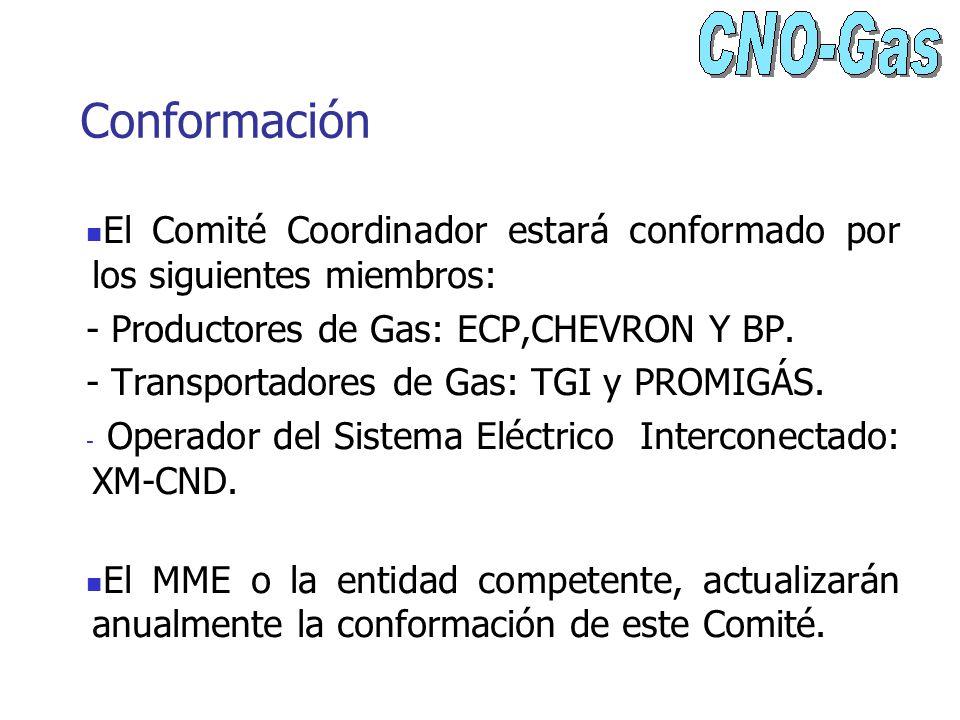 Conformación El Comité Coordinador estará conformado por los siguientes miembros: - Productores de Gas: ECP,CHEVRON Y BP.