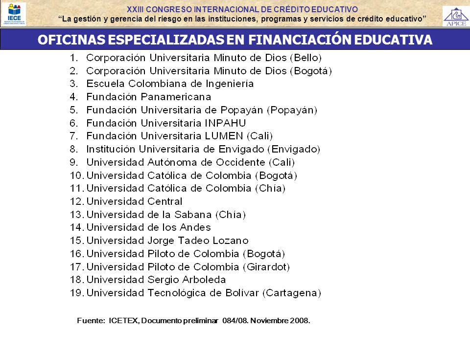 OFICINAS ESPECIALIZADAS EN FINANCIACIÓN EDUCATIVA