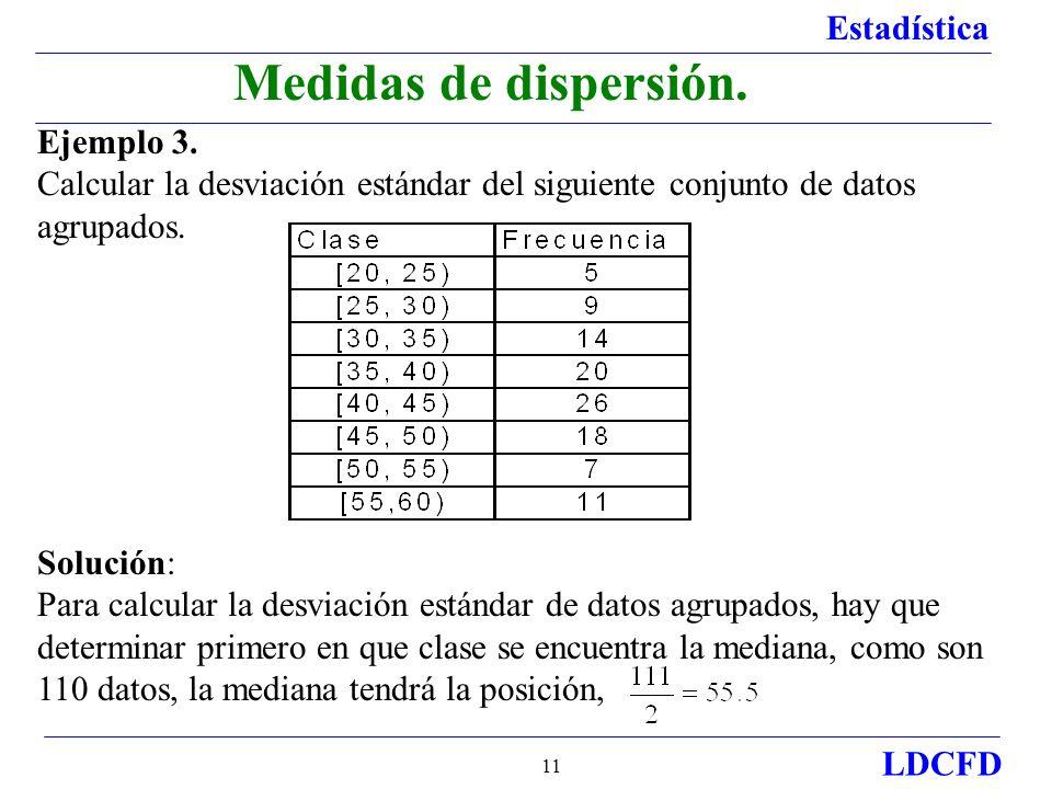 Medidas de dispersión. Ejemplo 3.