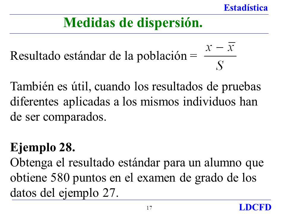 Medidas de dispersión. Resultado estándar de la población =