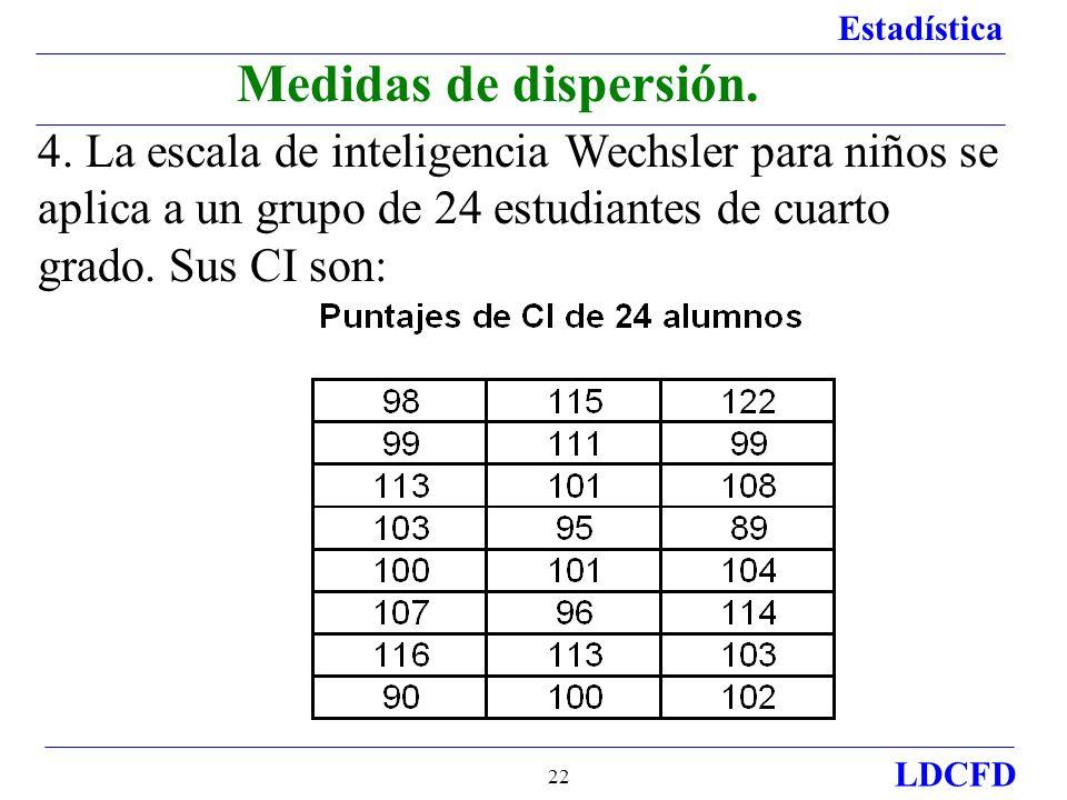 Medidas de dispersión. 4.