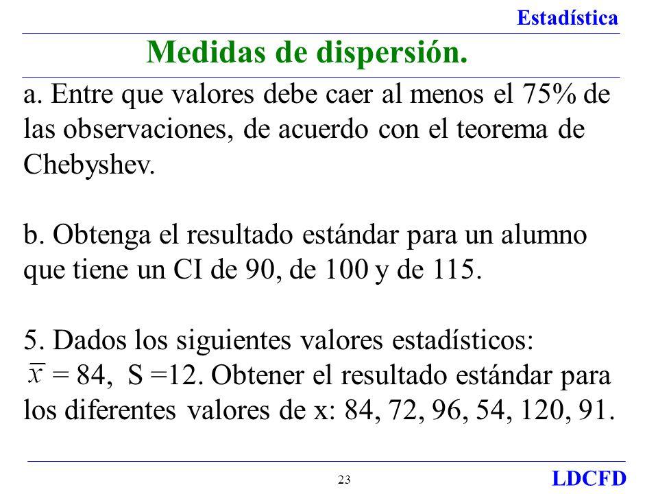 Medidas de dispersión. a. Entre que valores debe caer al menos el 75% de las observaciones, de acuerdo con el teorema de Chebyshev.