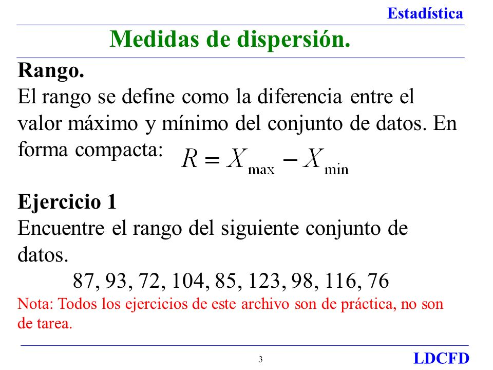 Medidas de dispersión. Rango.