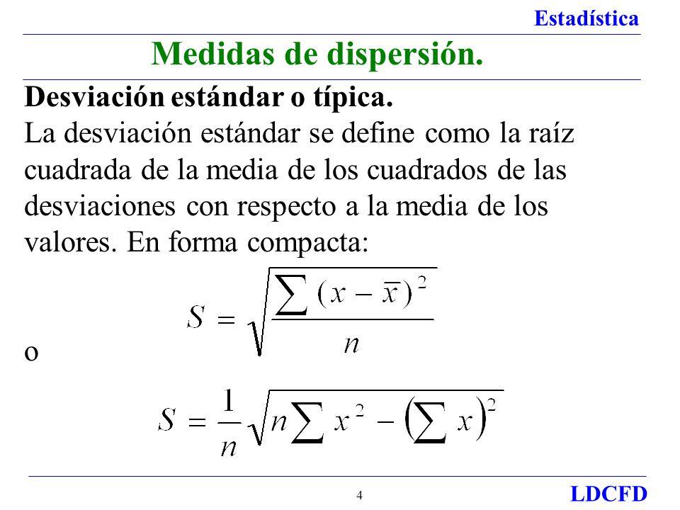 Medidas de dispersión. Desviación estándar o típica.
