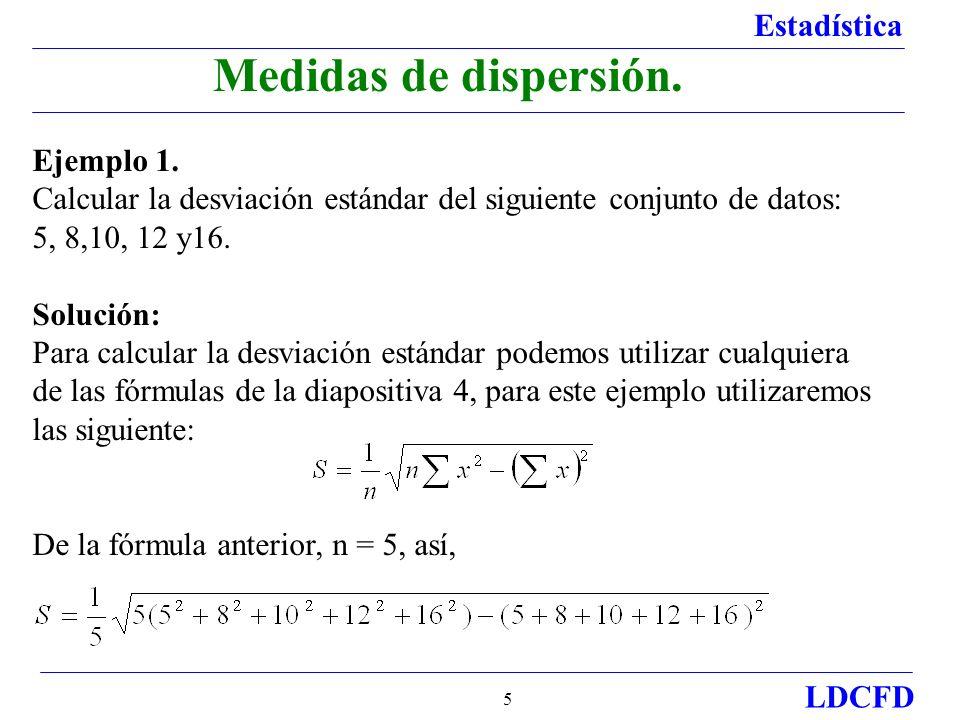 Medidas de dispersión. Ejemplo 1.