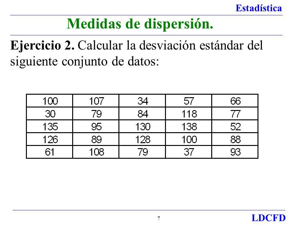 Medidas de dispersión.Ejercicio 2.