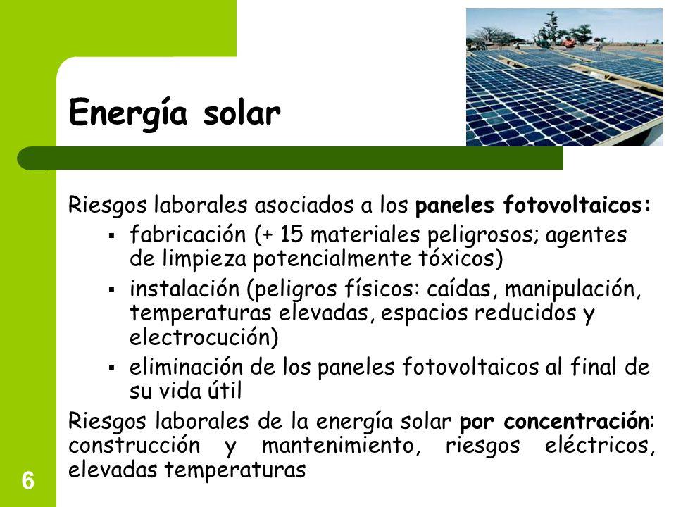 Energía solar Riesgos laborales asociados a los paneles fotovoltaicos:
