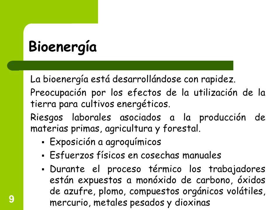 Bioenergía La bioenergía está desarrollándose con rapidez.