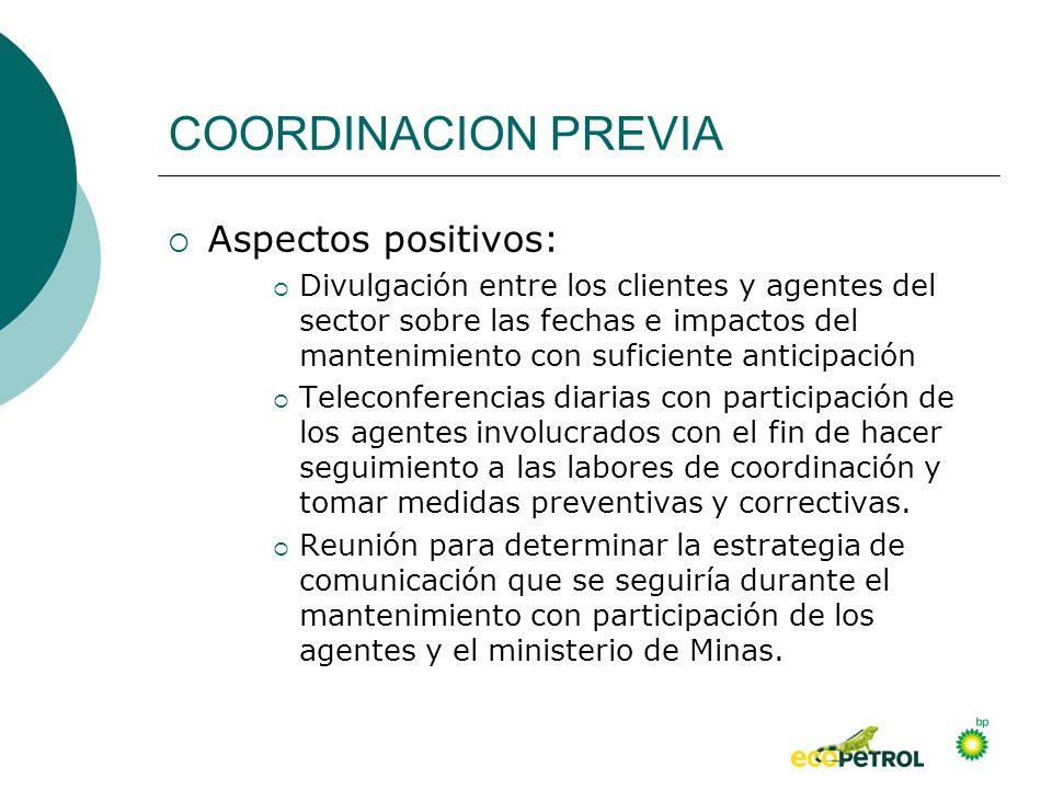 COORDINACION PREVIA Aspectos positivos:
