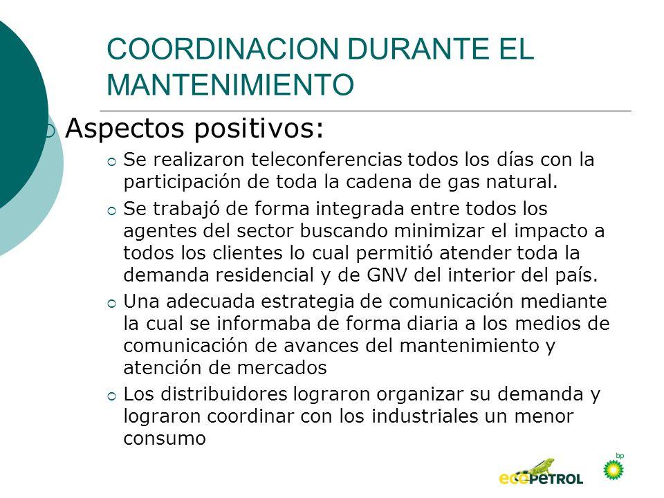 COORDINACION DURANTE EL MANTENIMIENTO