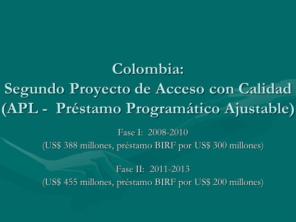 Colombia: Segundo Proyecto de Acceso con Calidad (APL - Préstamo Programático Ajustable)