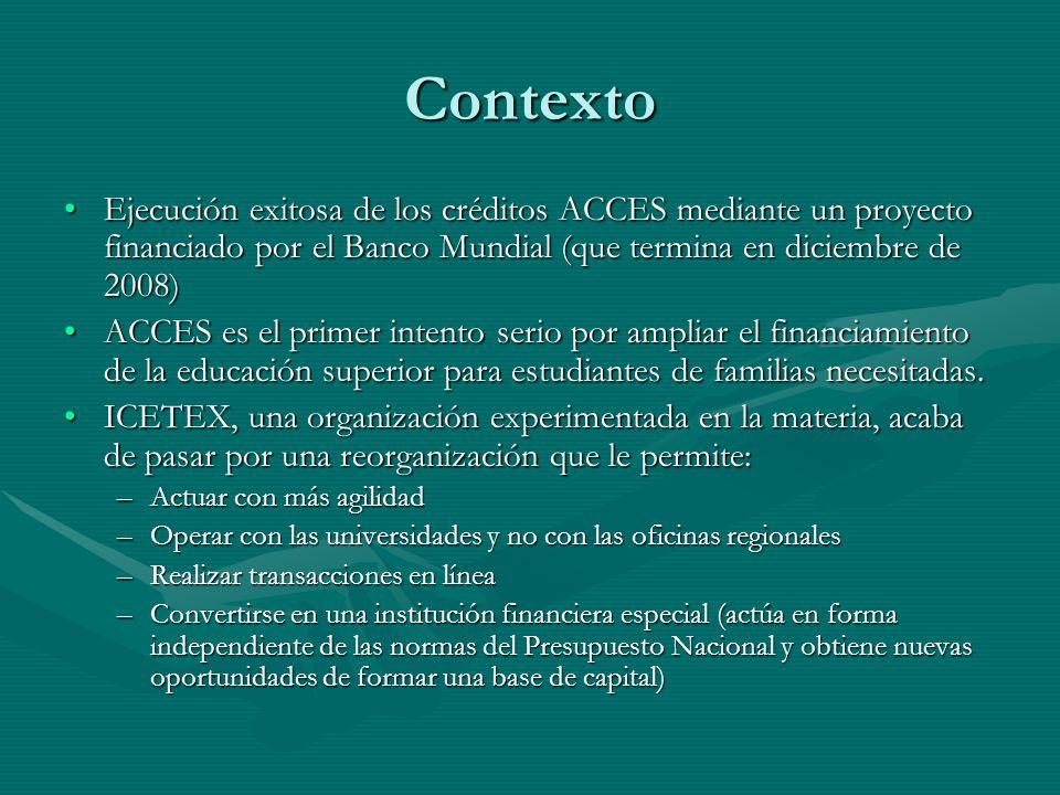 Contexto Ejecución exitosa de los créditos ACCES mediante un proyecto financiado por el Banco Mundial (que termina en diciembre de 2008)
