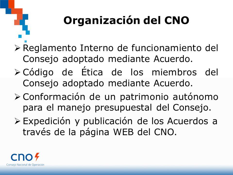 Organización del CNO Reglamento Interno de funcionamiento del Consejo adoptado mediante Acuerdo.