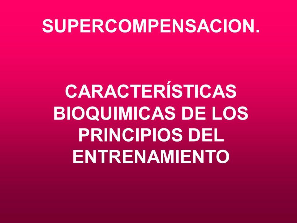 CARACTERÍSTICAS BIOQUIMICAS DE LOS PRINCIPIOS DEL ENTRENAMIENTO