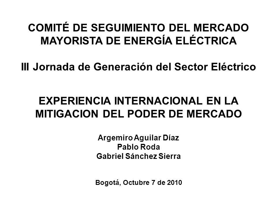 COMITÉ DE SEGUIMIENTO DEL MERCADO MAYORISTA DE ENERGÍA ELÉCTRICA