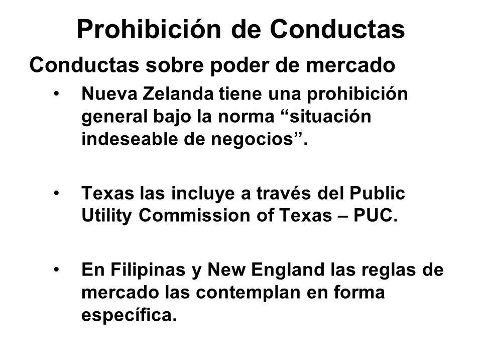 Prohibición de Conductas