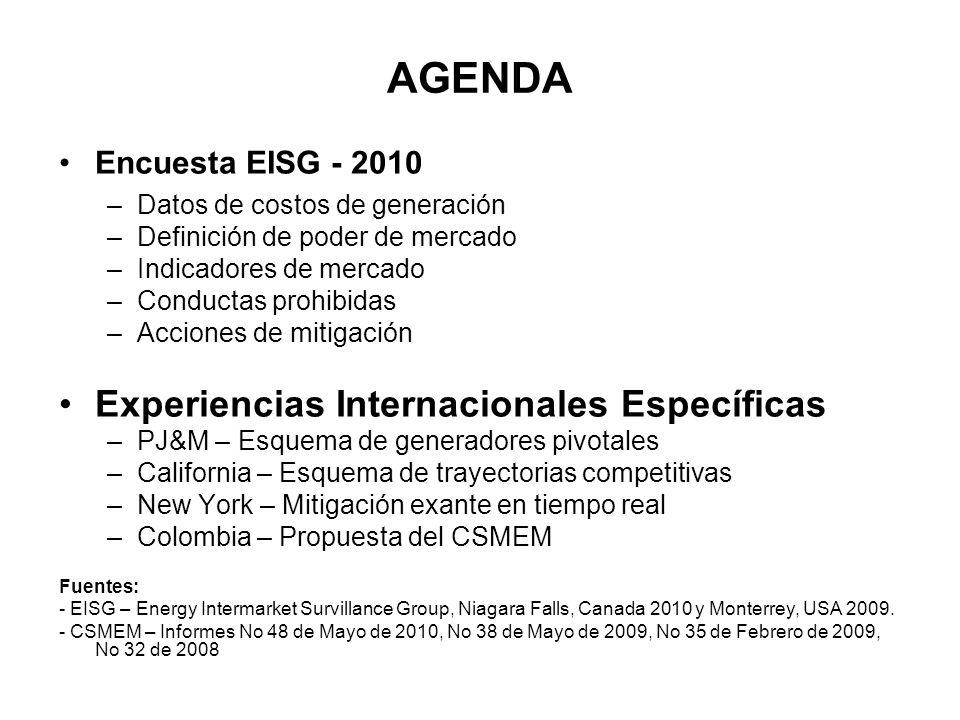 AGENDA Experiencias Internacionales Específicas Encuesta EISG - 2010
