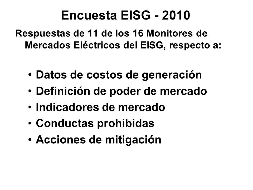 Encuesta EISG - 2010 Datos de costos de generación