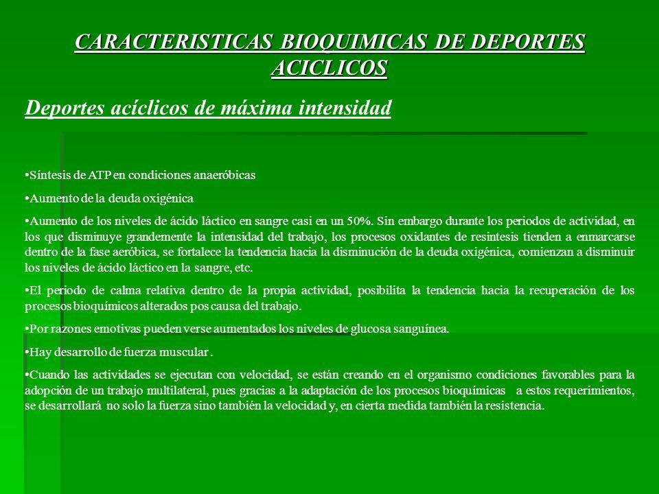 CARACTERISTICAS BIOQUIMICAS DE DEPORTES ACICLICOS