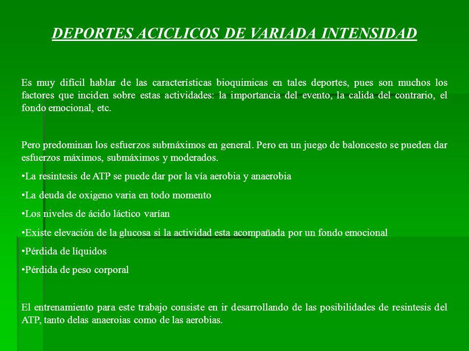 DEPORTES ACICLICOS DE VARIADA INTENSIDAD