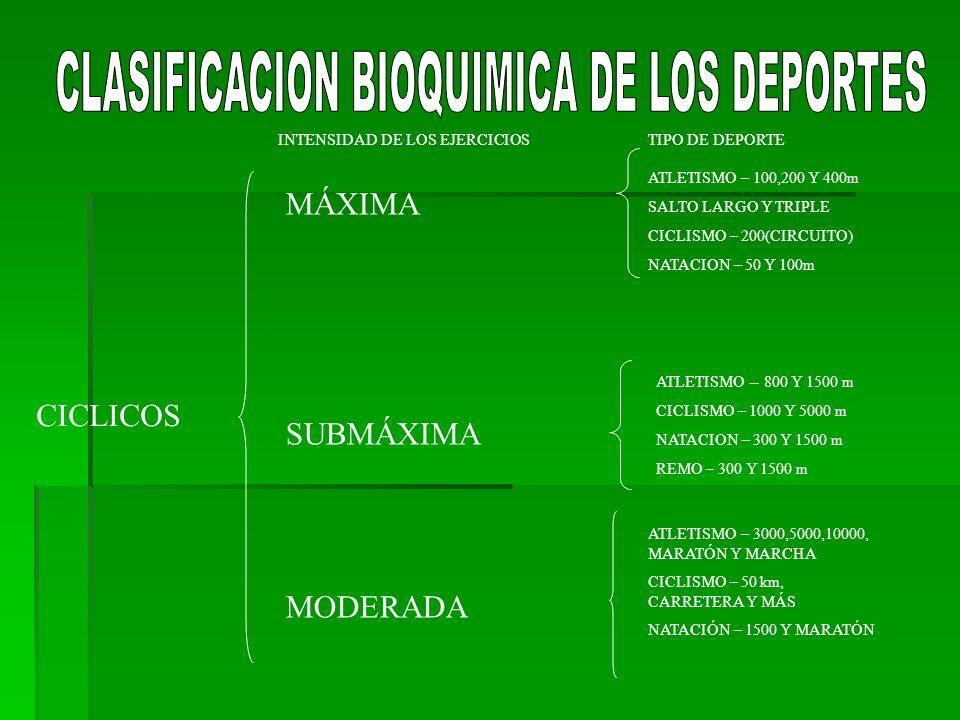 CLASIFICACION BIOQUIMICA DE LOS DEPORTES