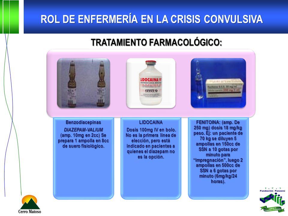ROL DE ENFERMERÍA EN LA CRISIS CONVULSIVA TRATAMIENTO FARMACOLÓGICO: