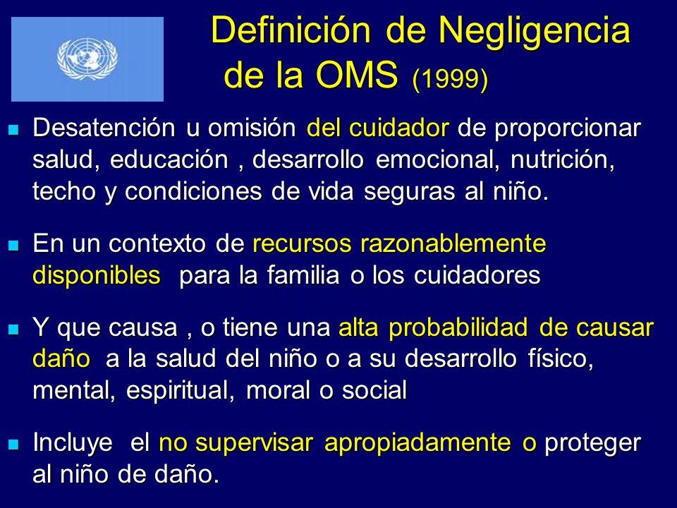 Definición de Negligencia de la OMS (1999)