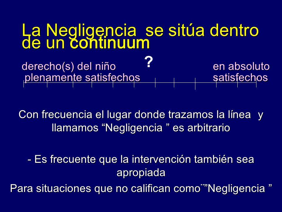 La Negligencia se sitúa dentro de un continuum derecho(s) del niño en absoluto plenamente satisfechos satisfechos