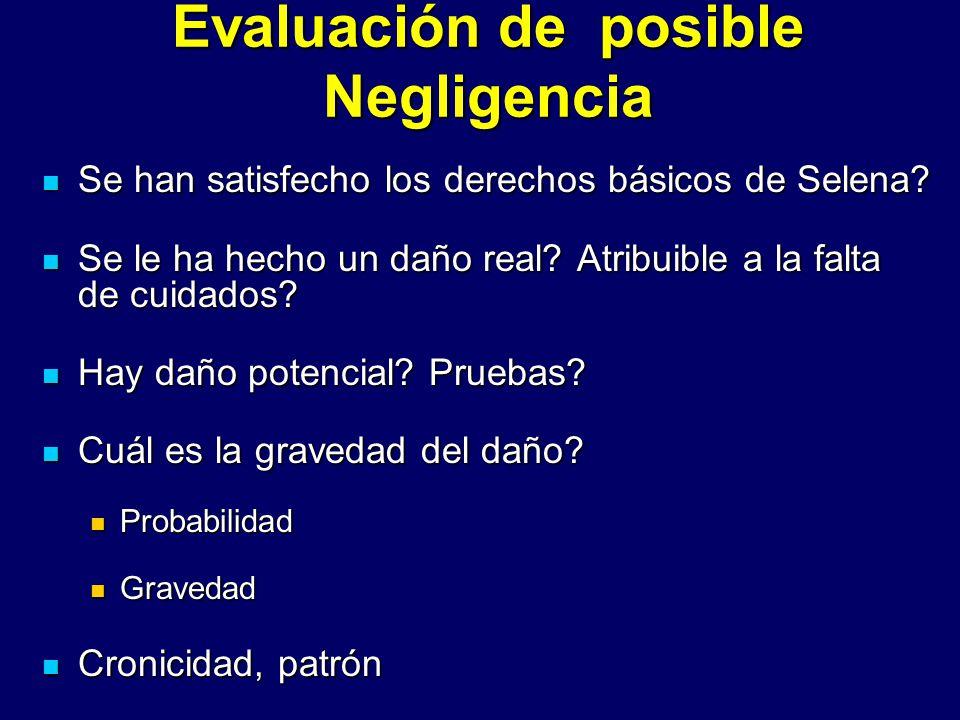 Evaluación de posible Negligencia