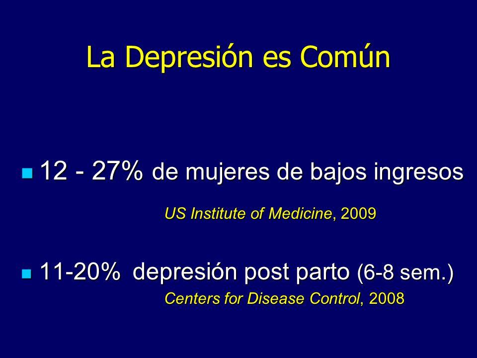 La Depresión es Común 12 - 27% de mujeres de bajos ingresos