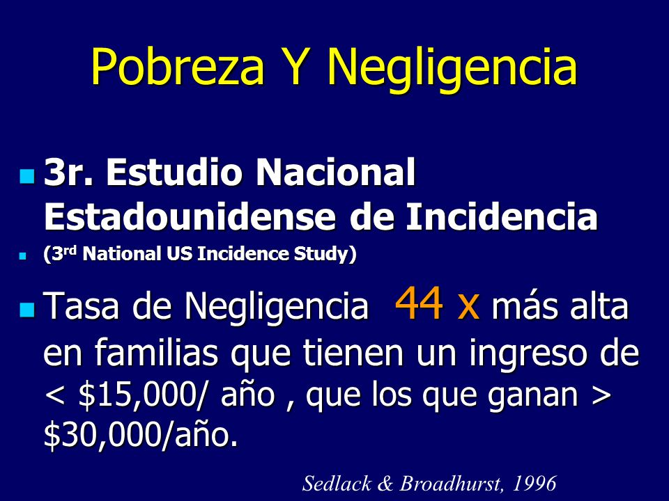 Pobreza Y Negligencia 3r. Estudio Nacional Estadounidense de Incidencia. (3rd National US Incidence Study)