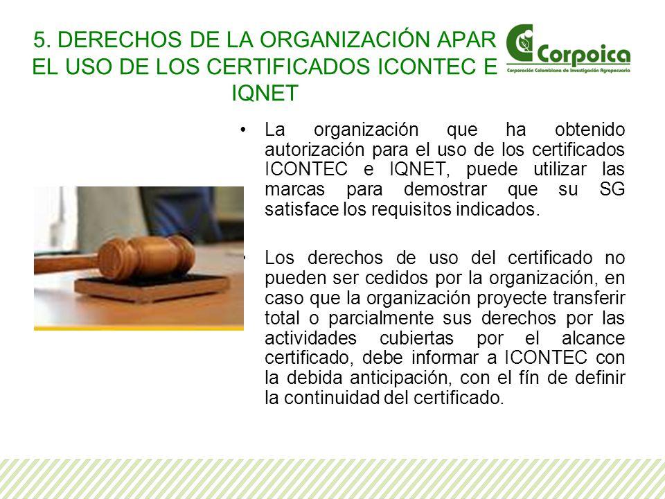 5. DERECHOS DE LA ORGANIZACIÓN APAR EL USO DE LOS CERTIFICADOS ICONTEC E IQNET