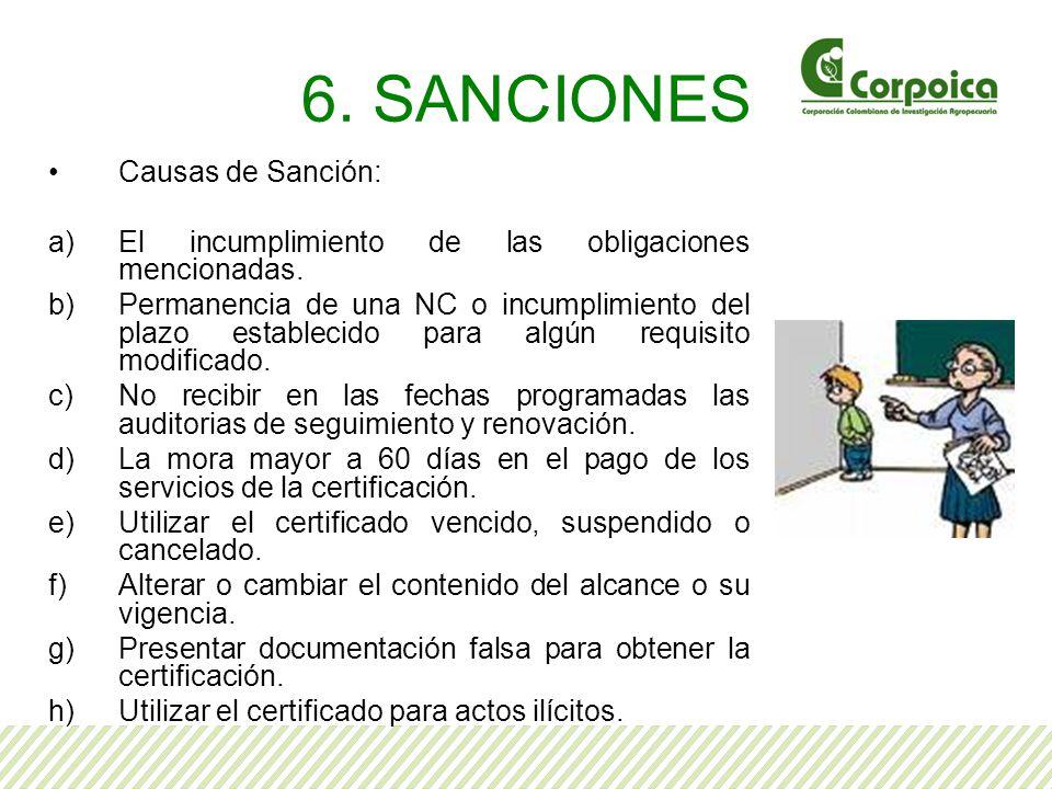 6. SANCIONES Causas de Sanción: