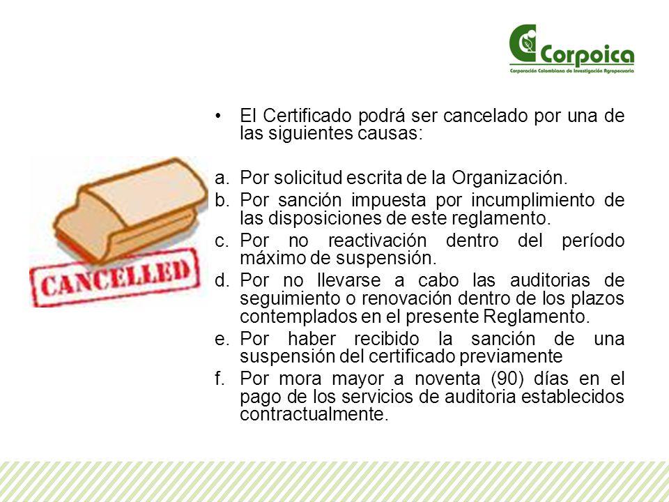 El Certificado podrá ser cancelado por una de las siguientes causas: