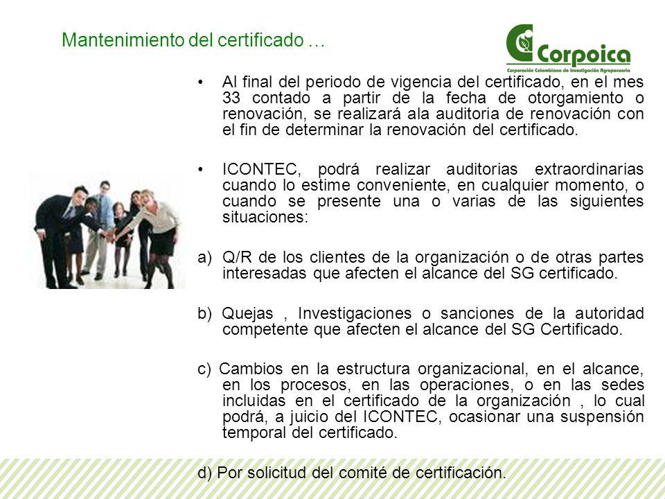 Mantenimiento del certificado …