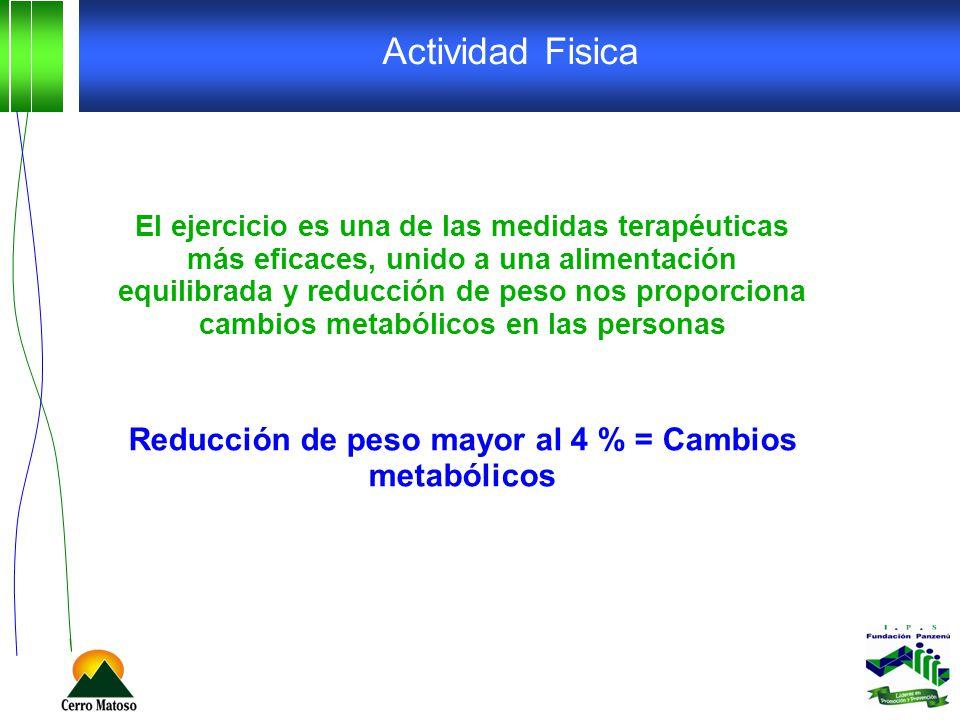 Reducción de peso mayor al 4 % = Cambios metabólicos