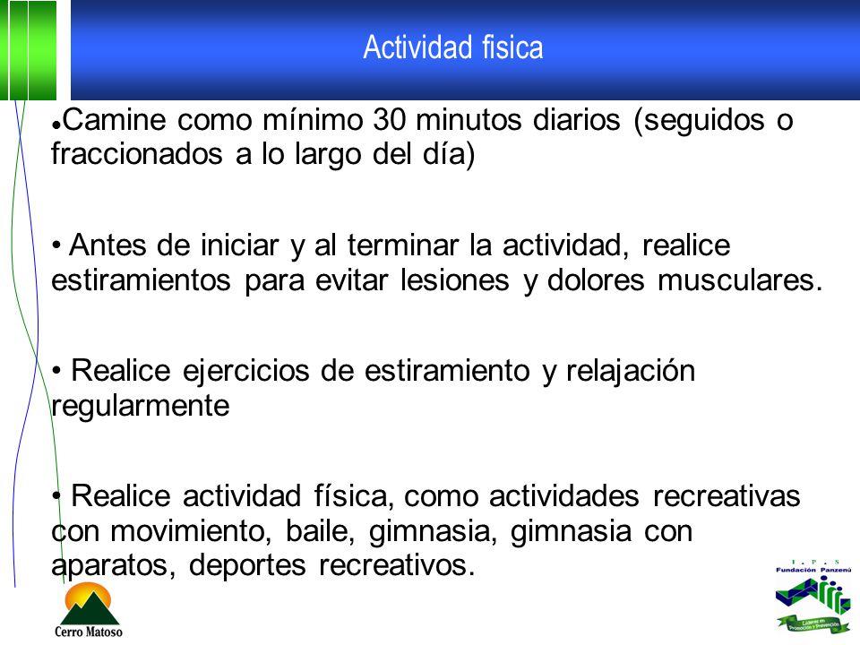 Actividad fisica Camine como mínimo 30 minutos diarios (seguidos o fraccionados a lo largo del día)